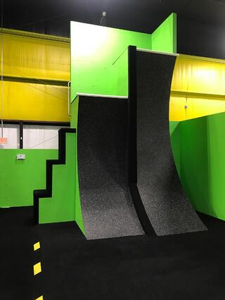 warped wall black and green