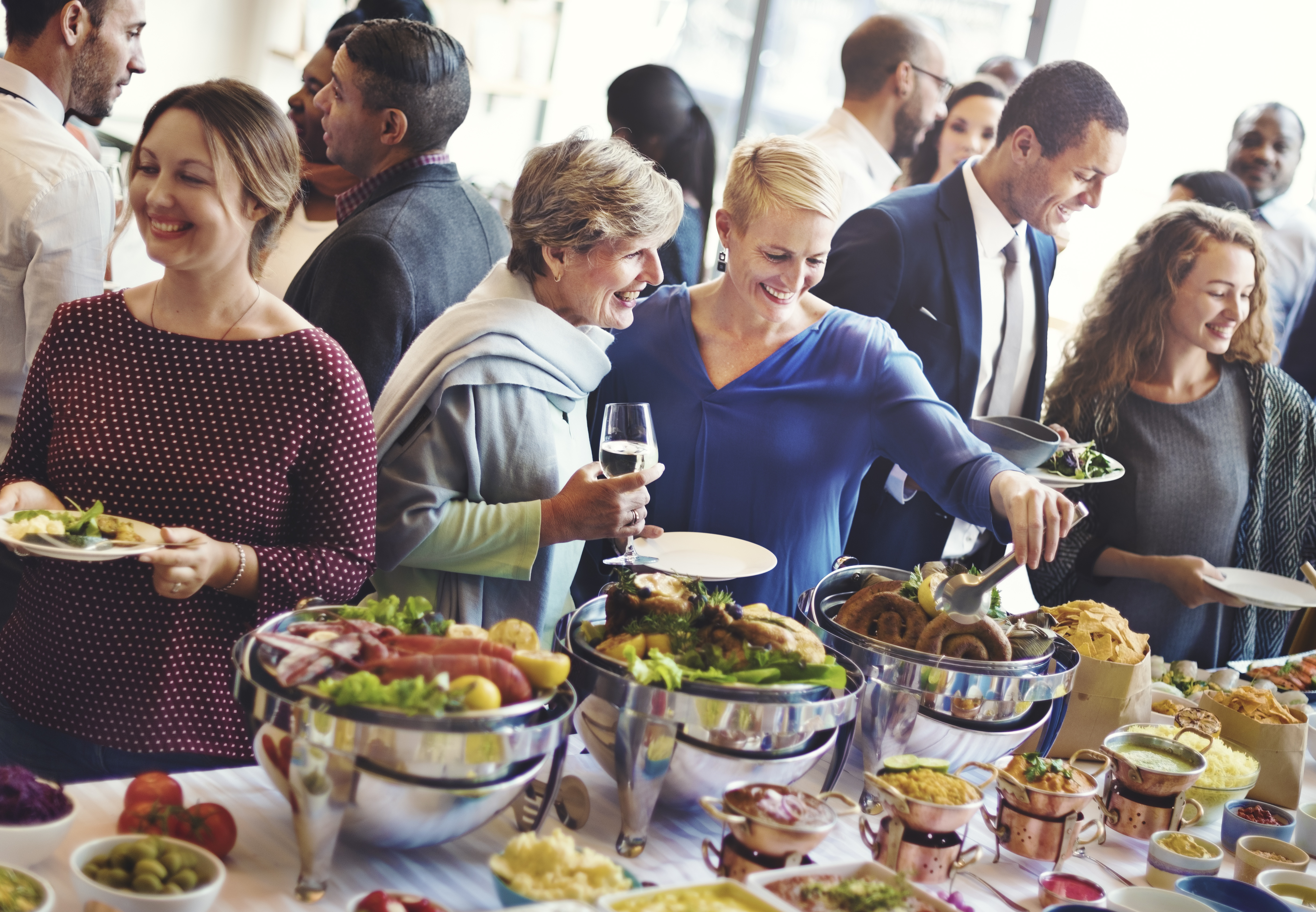 guests enjoying buffet food